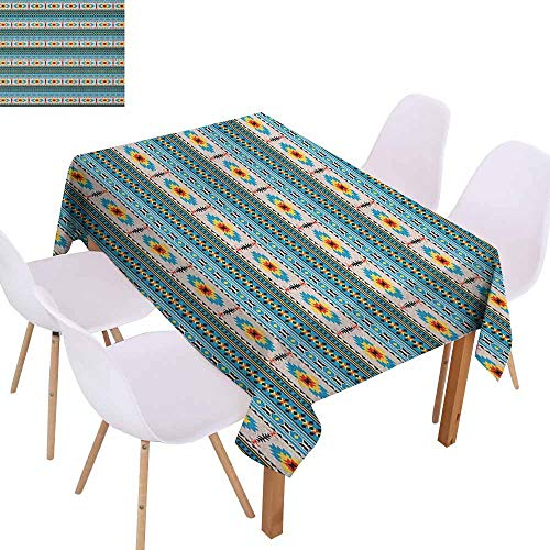 Stain-Resistant Tablecloth Afghan Tribal Illustration of Geometric Shapes Rhombuses Stripes Middle Eastern Pattern Picnic W60 xL102 Multicolor Great for Buffet Table
