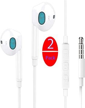 2 Pack Auriculares In Ear, Auriculares con micrófono, Resistentes al Sudor, Aislamiento de Ruido, Graves potentes, para iPad Android MP3 y MP4 y Todos los Conectores de Audio de 3,5 mm (Blanco):