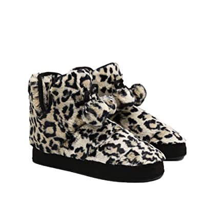 Barphil Women Furry Slipper Boots, Ladies Leopard Fluffy Plush Bootie Slippers with Pom Poms Indoor Outdoor House Shoes | Slippers