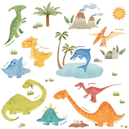 Decowall DW-1505 Dinosaurs Kids Wall Decals Wall Stickers Peel and Stick Removable Wall Stickers for Kids Nursery Bedroom Living Room