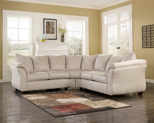 Contemporary Darcy Stone Collection Fabric Upholstery 2 Pc Loveseat Sectional