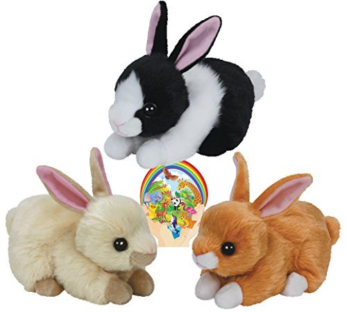 Ty Beanie Babies Rabbits CHECKERS, CREAMPUFF, SWEETIE PIE gift set of 3 Plush 6-8 inches tall Toys with Bonus 3