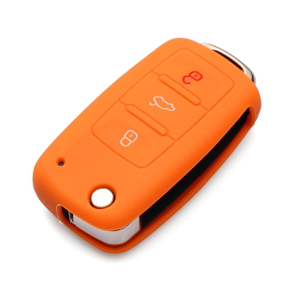 WOQUi Silicone Cover Skin Jacket For VOLKSWAGEN SKODA SEAT 3 Button Flip Remote Key