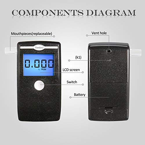 Breathalyzer, Fannel Portable Breath Alcohol Tester LED Screen with Mouthpieces for Home Use (2018 New Black)