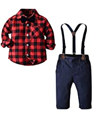 SANGTREE Baby Boy's Outfit, Long Sleeves Plaids Button Down Flannel Shirt with Bow Tie + Suspender Pants Set for Toddlers Baby & Little Boys; 2 Pieces Clothes, Red Black, Tag 110 = 2-3 Years