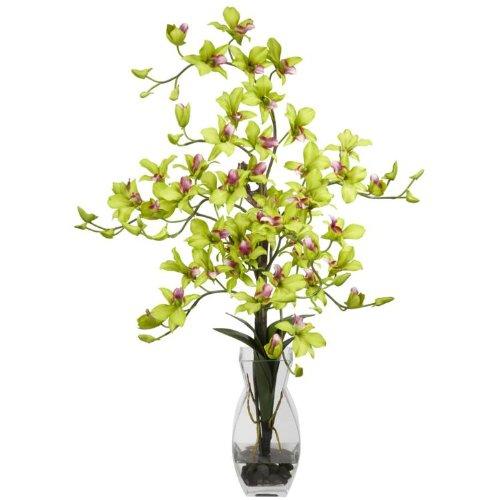 Green Dendrobium Silk Flower Arrangement w/ Vase ()