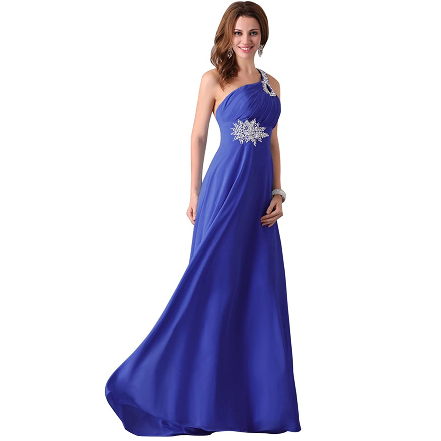 Vimans? Women's 2016 Long One Shoulder Beaded Bridesmaid Evening Dresses