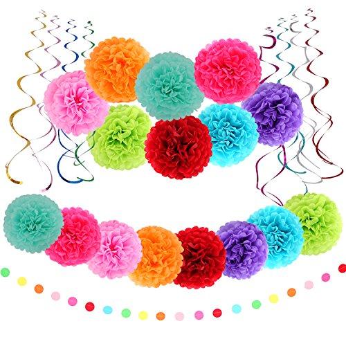 Multicolor Tissue Paper Pom Poms Flower Plastic Swirl Polka Dot Paper Garland Decorations(Total 25 Pcs) -