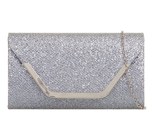 LeahWard Women's Glitter Clutch Bag Wedding Bridal Bridal mate's Handbags 831 Grey