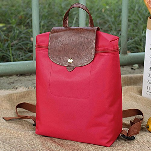 Rucksack Womens Travel Backpack Fashion School Red Nylon Shoulder Inkach Bags Mini Purse Folding SIx0q1zIw