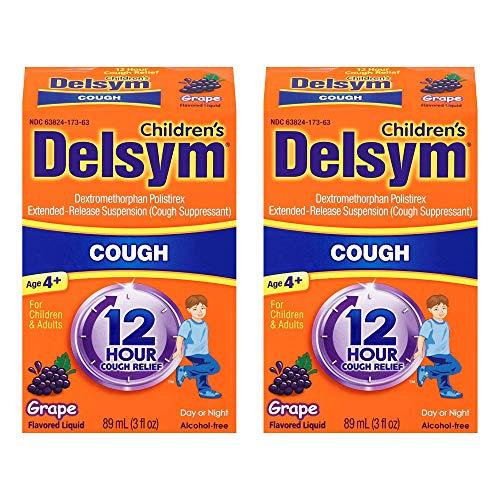 Delsym Children's 12 Hr Cough Relief Liquid, Grape, 3 oz (Pack of 2)