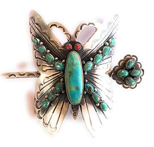 Butterfly Native American Navajo Sterling Multi Stone Barrette Signed from Nizhoni Traders LLC
