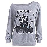 Womens Halloween Pumpkin Haunted House Sweatshirt Pullover Girls Top Shirt Blouse for Winter