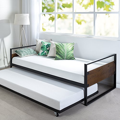 Image of the Zinus Ironline Twin Daybed and Trundle Frame Set / Premium Steel Slat Support / Daybed and Roll Out Trundle Accommodate Twin Size Mattresses Sold Separately