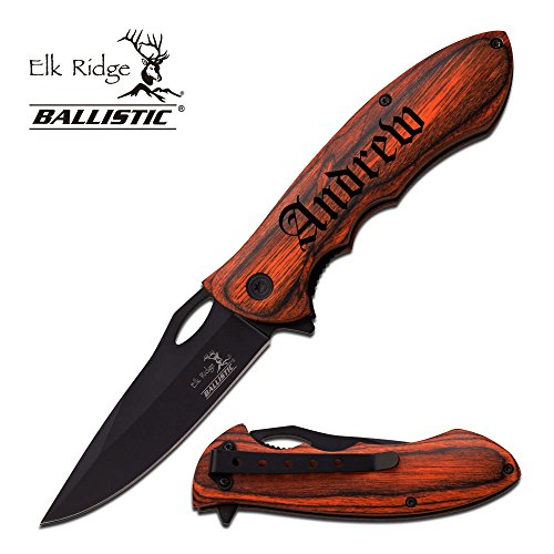 Personalized Free Engraving - Quality Elk Ridge Pocket Knife … (Black.)
