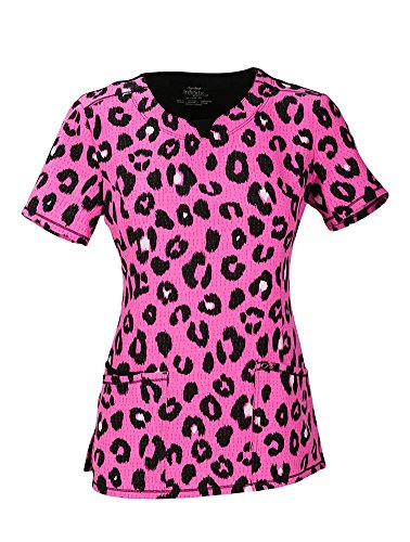 - Infinity by Cherokee Women's V-Neck Animal Print Scrub Top Medium Print
