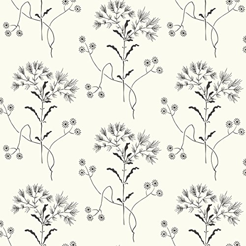 York Wallcoverings ME1515 Magnolia Home Vol. II Wildflower Black on White