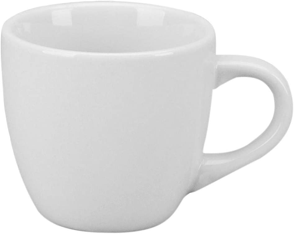 NEW, 6 Oz. (Ounce) White Porcelain Cappuccino Cup & Saucer Set, Latte Coffee Cups, Restaurant Quality Two (2) Sets