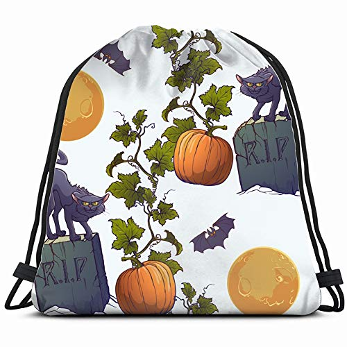 halloween pattern black cats tombstones holidays art people Special Backpack Sack Bag Gym Bag For Men & Women 17X14 Inch