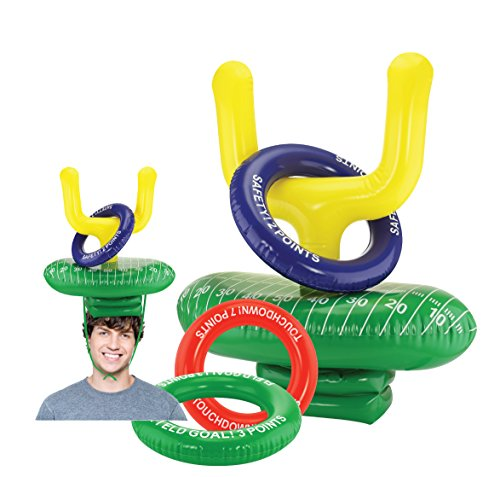 Super Bowl Party Games - Kovot 2-Player Inflatable Football Ring Toss Game - Game Rules Included (2 Goal Post Hats & 6 Rings)