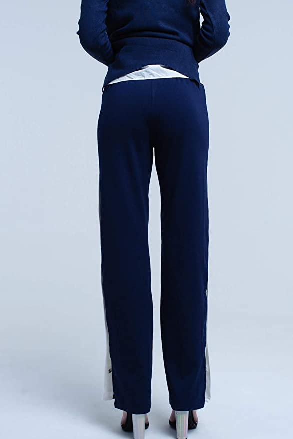 Q2 Pantalon Azul Marino con Aberturas Laterales y Corchetes, S ...