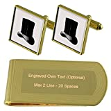Top Hat Gold-tone Cufflinks Money Clip Engraved Gift Set