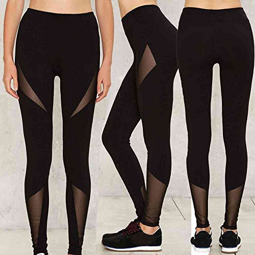 Culater® Femmes Haute Taille Sexy Leggings maigres Patchwork Mesh Push Up Yoga Pantalons