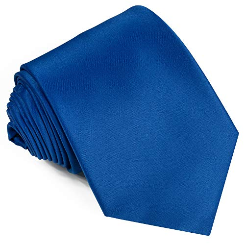 Ties For Men Satin Necktie - Mens Solid Color Neck Tie Wedding Neckties (Royal)