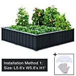 "KING BIRD Extra-Thick 2-Ply Reinforced Card Frame Raised Garden Bed Galvanized Steel Metal Planter Kit Box Green 68""x 36""x 12"" with 8pcs T-Types Tag & 1 Pair of Gloves, 17 Cu. Ft. 10 【TWO YEARS WARRANTY】Update the newest assembly video in April. Show more details about installment, stability and convenience. The most wonderful design of our KING BIRD raised garden bed is not only about the convenient and fast installation without tools, also for its smart design to vastly increase the loading ability and capacity. TWO YEARS WARRANTY and 100% satisfaction After-service are provided, please contact us directly if any questions or doubts. 【Extra-thick 2-Ply Reinforcement】 Double card frames on the two sides of sheet make the garden bed more durably and stably; never worry about its distorted or collapsed and it presents much more beautiful design. 【Multilayer Galvanized Paint】 Upgraded multilayer galvanized paint efficiently prevents rust and continues to beauty; also never worry about that pest and rain damage the wood garden bed; galvanized steel garden bed provides a lasting use and no discoloration. No painting inside, no worries about the damage for plants."