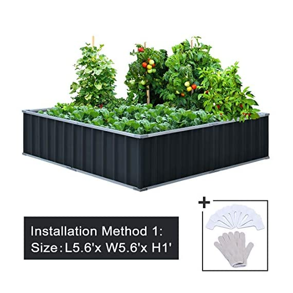 "KING BIRD Extra-Thick 2-Ply Reinforced Card Frame Raised Garden Bed Galvanized Steel Metal Planter Kit Box Green 68""x 36""x 12"" with 8pcs T-Types Tag & 1 Pair of Gloves, 17 Cu. Ft. 1 【TWO YEARS WARRANTY】Update the newest assembly video in April. Show more details about installment, stability and convenience. The most wonderful design of our KING BIRD raised garden bed is not only about the convenient and fast installation without tools, also for its smart design to vastly increase the loading ability and capacity. TWO YEARS WARRANTY and 100% satisfaction After-service are provided, please contact us directly if any questions or doubts. 【Extra-thick 2-Ply Reinforcement】 Double card frames on the two sides of sheet make the garden bed more durably and stably; never worry about its distorted or collapsed and it presents much more beautiful design. 【Multilayer Galvanized Paint】 Upgraded multilayer galvanized paint efficiently prevents rust and continues to beauty; also never worry about that pest and rain damage the wood garden bed; galvanized steel garden bed provides a lasting use and no discoloration. No painting inside, no worries about the damage for plants."