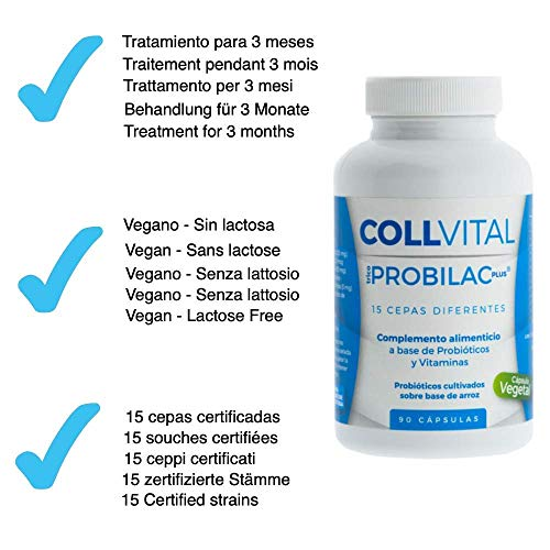 Probióticos y prebioticos veganos con 15 cepas | 90 cápsulas tratamiento probiotico para 3 meses | Mejora las defensas y la flora intestinal | ...