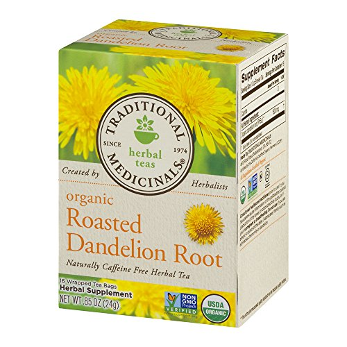 Traditional Medicinals Organic Roasted Dandelion Root Herbal Tea 16 Tea Bags Each / Pack of (Frost Tea)