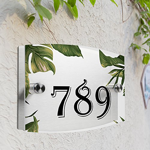 JEXICASE Customized Personalised Door Plate, Palm Leaf Pattern Acrylic Modern House Arc Frosted Sign Door Number Name Road Plaque-Palm Leaf Layout 3