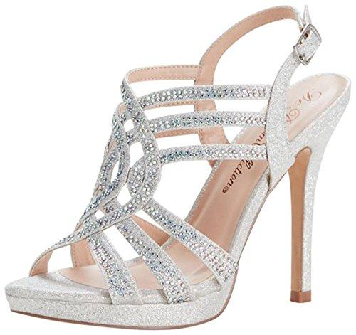David's Bridal Strappy Crystal Platform Sandals Style VIVA2, Silver Metallic, (Womens Metallic Bridal Shoes)