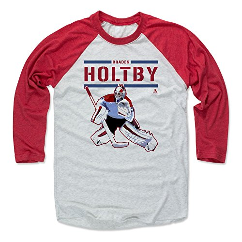 500 LEVEL Braden Holtby Baseball Tee Shirt Large Red/Ash - Washington Hockey Raglan Shirt - Braden Holtby Play R (Ash T-shirt Hockey)