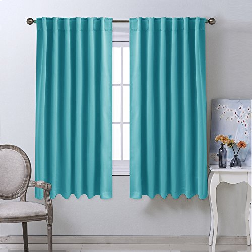 Window Treatment Blackout Curtains and Draperies - (Turquoise Blue Color) 52x63 Inch, 2 Panels, Room Darkening Blackout Panel Drapes for Bedroom by NICETOWN - Light Turquoise Color