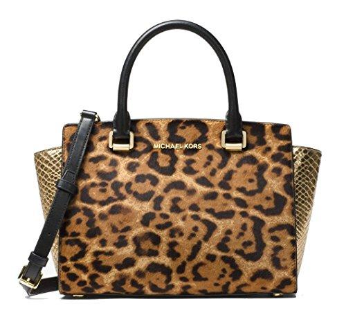 Michael Kors Women's Selma Medium Top Zip Satchel - Leopard Mk Bag