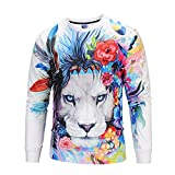 Corriee Fashion Tops for Men 2018 Casual Panda Lion Printed Long Sleeve Sweatshirts Chic 3D Print Hip Hop Pullover Top