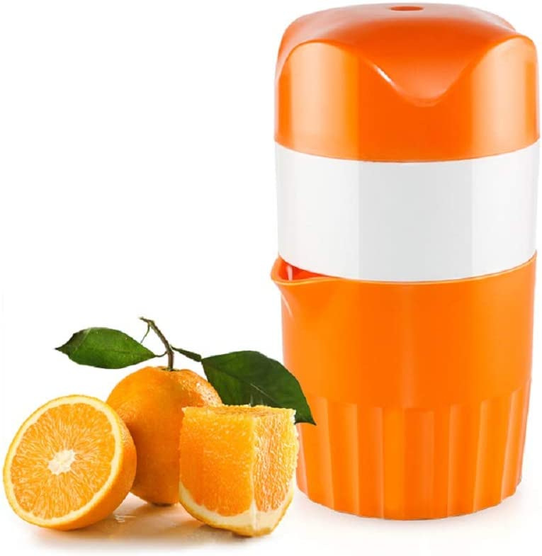 Manual Juicer, Manual Lid Citrus Lemon Orange Juicer ,Juice Tool with Strainer and Container - Easy to Use and Clean, Orange