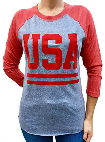 SoRock USA With Stripes 3/4 Sleeve Tri Blend Raglan Tshirt Medium Red w/ Grey