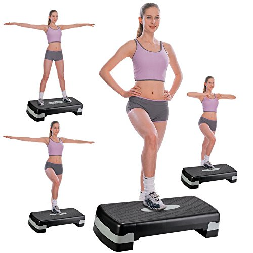 Asatr Adjustable Exercise Fitness Workout Stepper for Gym Exercise Workout with 2 Additional Risers