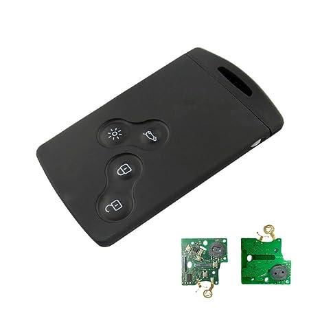 SODIAL 4 Botones Coche 43hz PCF7952 Chip Llave remota de 4 Botones Llave del Coche de Tarjeta Inteligente para Renault Koleos Clio Megane Scenic ...