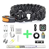 Rescue Survival Knife - Paracord Bracelet Survival Gear | 550 Premium Black Reflective Parachute | Outdoor Emergency First Aid Tool Kit 19 in 1 Compass, Fire Starter, Emergency Knife, Whistle, Rescue Rope & Food Fishing