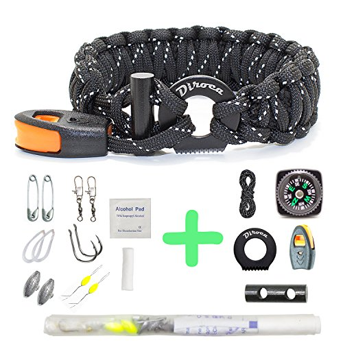 Paracord Bracelet Survival Gear | 550 Premium Black Reflective Parachute | First Aid Kit 19 in 1 Compass, Fire Starter, Knife, Whistle, Rescue Rope & Fishing tools – Outdoor Hiking Camping Hunting