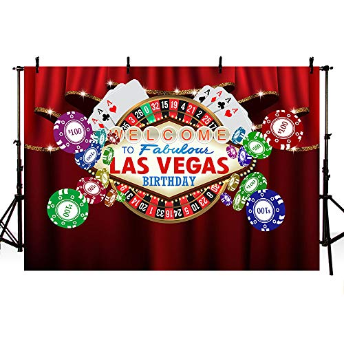 MEHOFOTO Casino Themed Red Curtain Adult Happy Birthday Photo Studio Backgrounds Party Banner Welcome to Fabulous Las Vegas Backdrops for Photography 8x6ft ()