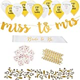 Complete Bachelorette Party Decorations Kit by ASUSA - Miss to Mrs Banner, Bride to Be Sash, Bride Tribe Flash Tattoos, Photo Booth Props, & More - Engagement Gifts and Bridal Shower Decorations