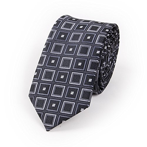 N.R.S Neckties for Men Fashion Checkered Skinny Jacquard Polyester Necktie