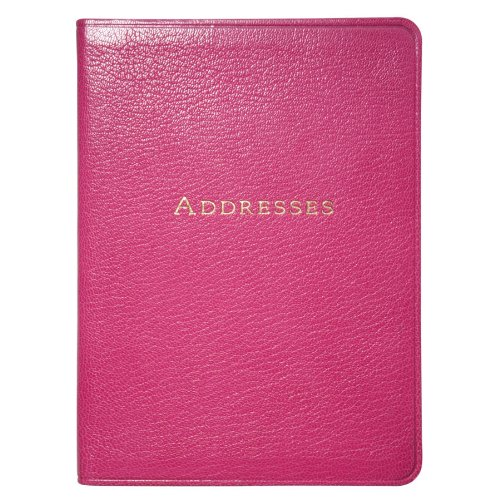 7 Inch Leather Bound Address Book, Genuine Goatskin Leather, 1,400 Entries, Pink