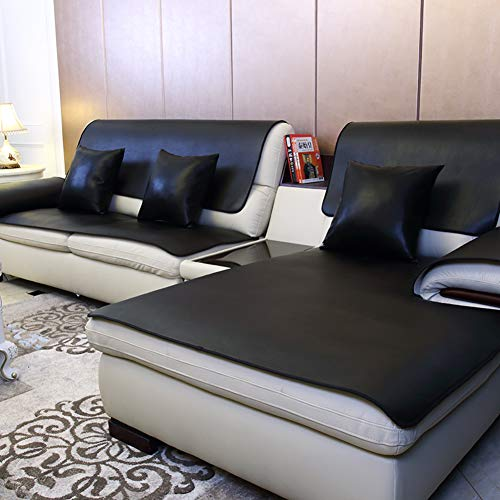 (YYJDGXXCP Leather Slipcover Sofa,European Waterproof Sofa Cover Four Seasons Applicable Couch Covers No wash Non-Slip Sofa Cushioning Throw Furniture Protector(1 Piece)-Black 80x120cm(31x47inch))