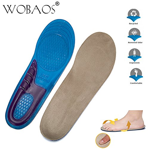 WOBAOS Memory Foam Orthopedic Silica Gel Shoe Insole, Sport Running Athletic Basketball Shoe Insoles Pads Inserts Pain Relief, Sports Insoles, Unisex Shoes,for Everyday Use. (6-10 US, Blue/Gray)